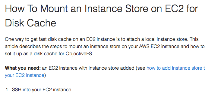 How To Mount an Instance Store on EC2 for Disk Cache